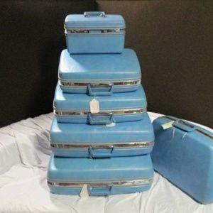 Lots of Vintage luggage sets-singles colors Retro